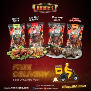 Serbuk Rempah bbq HILMIE'S – 3 set (4 in 1 + FREE DELIVERY – Sem. M'sia shj)